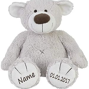 teddy bär mit name und datum am fuß